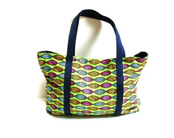 Beach tote bag, large cotton bag, summer tote, cotton denim, summer bag, lime pink blue, cruise bag, spa bag, diaper bag