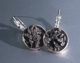 30% OFF Spectral Hematite Crater Earrings Lever Back Silver Tone Earrings