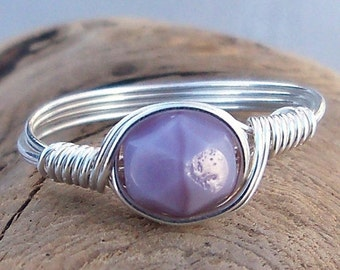 15% OFF SALE Lilac Matte Czech Glass Argentium Sterling Silver or 14k Gold Filled Wire Wrapped Ring