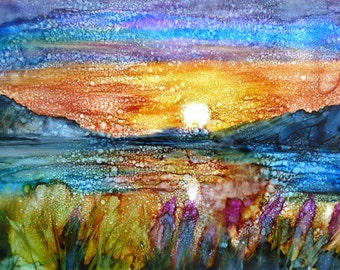 Alcohol Ink Sunset Painting Print by Maure Bausch