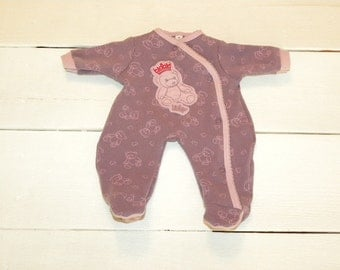 Mauve Patterned Footed Sleeper - 14 - 15 inch doll clothes