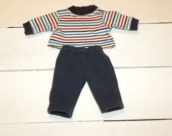 Navy Jogging Pants and Striped Tshirt - 14 - 15 inch boy doll clothes