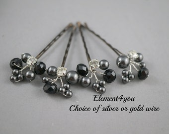Black pearls and crystals bobby clips, Bridal Hair Pins, Wedding Hair Accessories, Pearl Wedding Hair Pins, Set of 4, Floral Vines clips