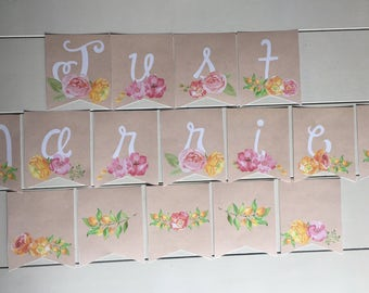 Wedding Banner, Floral Wedding Banner, Floral Banner, Just Married Banner, Floral Printable Banner, Printable Wedding Banner, Just Married