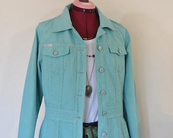 "Mint Celadon Medium Cotton JACKET -Green Dyed Upcycled Unionbay Cotton Trench Blazer Jacket - Adult Womens Size Medium (38"" chest)"