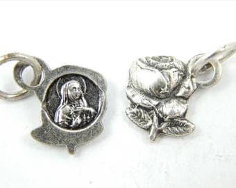 Vintage Saint Rita Catholic Medals - Silver Rose Shaped Charm Lot - Bracelet Rosary Supplies - Catholic Jewelry - 009