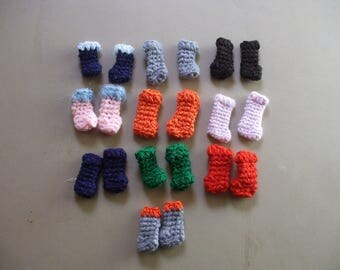 10 pairs of crocheted boots for barbie - strawberry shortcake - Blythe - lollipop girls footwear -shop closing on the 31st