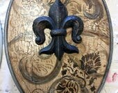 """Jeanine Brown / Reserved/  old world / Tuscan Handpainted design w Fleur-de-Lis  / Metal hinges ~ 18"""" Elongated Seat / MADE to ORDER"""