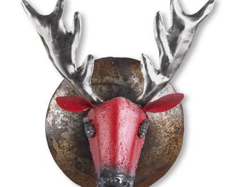 Roxy the Reindeer Metal Wall Art Sculpture Red