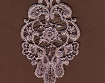 Hand Dyed Venise Lace Floral Rose Medallion  Aged Violet Haze