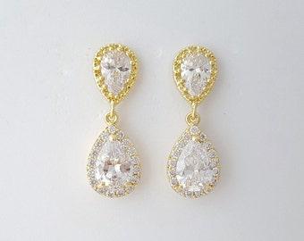 Wedding Earrings Gold Bridal Jewelry Clear Cubic Zirconia Teardrop Gold Crystal Bridal Earrings Pendant Set, Emma