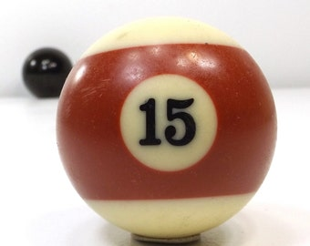 vintage 70s pool ball number 15 fifteen red stripe resin billiard collectible object decorative home decor altered art game room men old