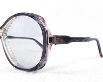 vintage deadstock 60s round eyeglasses frame acetate glasses eyewear translucent crystal clear mauve blush detailed accent men women NOS 213