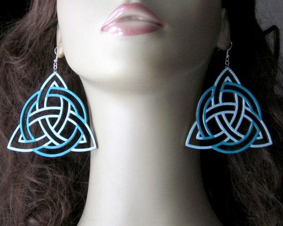 Extra Large Celtic Knot Earrings, Trinity Knot Ornaments, Aqua Blue, Viking Symbol Jewelry, Hand Painted, Laser Cut Wood Earrings