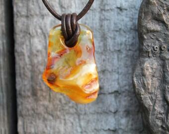 Unisex Amber Pendant  Amber Charm Milky Dark Yin Yang Man Necklace Natural Earthy