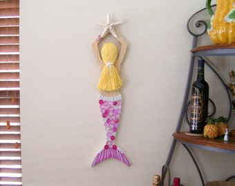 Mermaid Carved from Wood (Custom Order) Hand Decorated and Painted Just for You Over 2 FT Long!