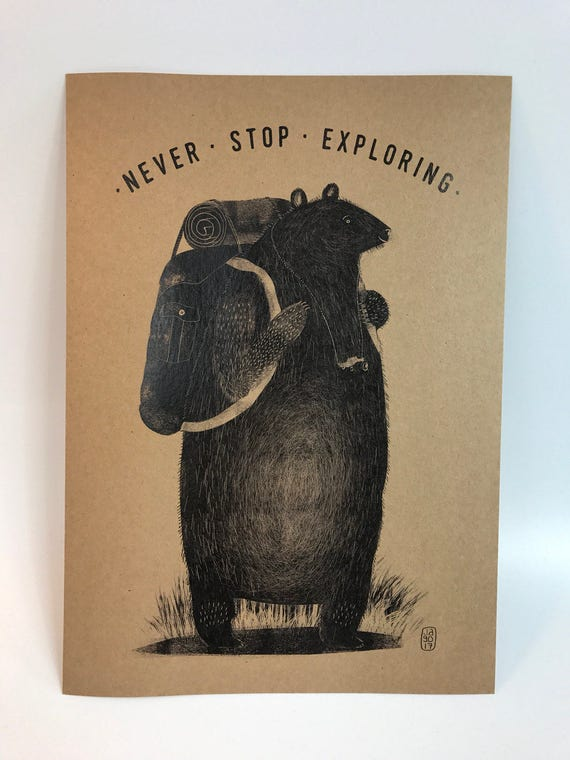 Backpack Bear  - A4 Brown Card Print