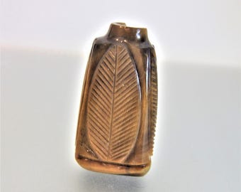 Gorgeous Carved Genuine Tigers Eye Decorative Perfume Snuff Bottle for Crafting