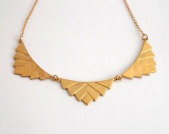 Art Deco Chevron Necklace,  Brass Statement Necklace, Gold Geometric Necklace, Gold Collar Necklace, Scallop Necklace, Gold Choker