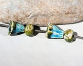 FOR ASIA - 4  beads -  handmade ceramic clay supply for earrings or necklace - green and turquoise blue bells