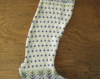 Cream And Blue Scandinavian Knit Design Christmas Stocking