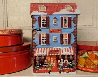 Vintage Christmas Tins Candy Tins Total of Four Tins Red Tins Holiday Tins