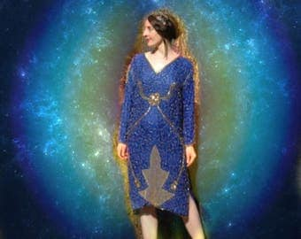 Size Large...Vintage Blue and Gold Sequined Dress... Indian Silk Trophy Sequin Dress