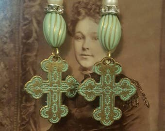 Bohemian Gypsy Cross Spirituality Jewelry Dangle Earrings Upcycled Recycled