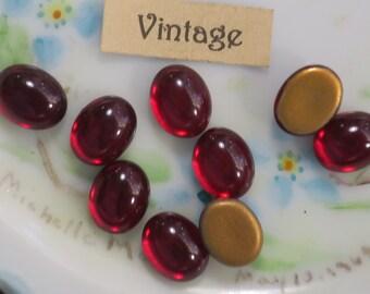 10x8mm Vintage Ruby Ovals Cabochons Glass Flat Back gold Foil Germany NOS (479R )