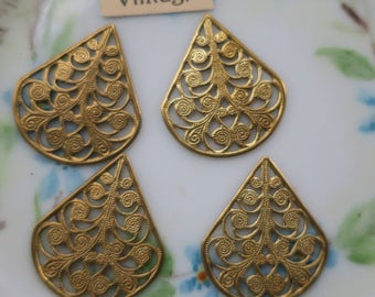 Vintage Filigree Findings Teardrop 26x22mm Victorian Base Settings Antique Brass (1419Q )