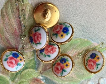 """Vintage Glass buttons,3/8""""Floral Buttons,Limoges Buttons,Flower buttons, Vintage doll buttons, Pink rose buttons, Tiny buttons,#1484C"""