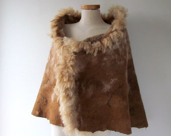 Felted alpaca poncho Felted scarf Alpaca Women scarf beige  brown shawl alpaca wrap natural fur wrap felted wrap alpaca wool cape Galafilc