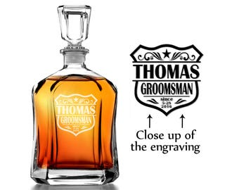 ONE Personalized Wedding Party Custom Engraved Glass Decanter Bride Groom Wedding Favors Personalized Decanter for Groomsmen Best Man Father