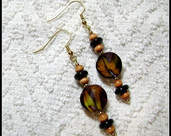 Earthtone Earrings - Disco Dangle Earrings - Earrings - Jewelry - Brown And Tan Colors - E-177