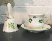 Shamrock Tea Cup and Saucer, and Bell - St. Patrick's Day, Irish, Four Leaf Clover