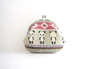 Panda Flannel Coin Purse - Change Purse - Mini Pouch - Womens Purse - Coin Pouch - Jewelry Purse - Gift for Her