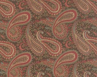 MILLE COULEURS Moda Fabric 1/2 yd 3 Sisters shabby quilt cotton Walnut Brown PAISLEY Victorian French cottage chic half yard 44084-12