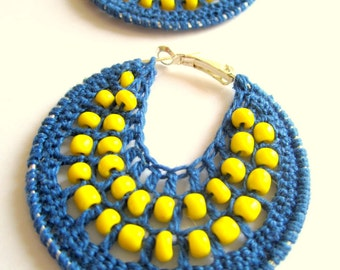 Crocheted hoops with beads dust blue and yellow