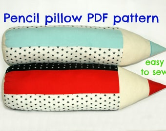 Pillow pattern, Pencil pillow sewing pattern (S129), Decorative pillow pattern, Kids pillow pattern, Stuffed toy pattern