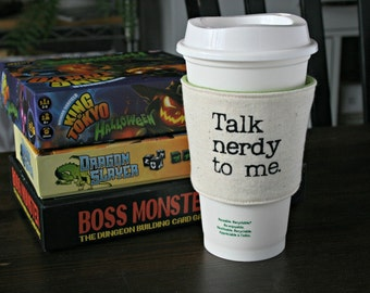 Talk Nerdy to Me cup cozy