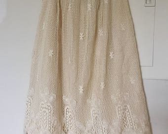 Vintage 1980s Ecru Intricate Lace Crochet Skirt xs small Cream Ivory