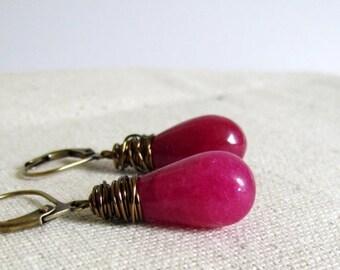Ruby Pink Earrings, Pink Jade Earrings, Fuchsia Stone, Antiqued Brass Wire Wrapped, Dangle Earrings, Under 25, Dark Pink, Ruby Earrings