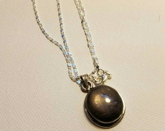 Labradorite and sterling silver pendant necklace with 26 inch sterling silver chain