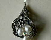 Antiqued Silver Filigree Cone and Pearls Pendant Necklace