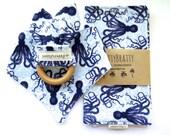 Ocean Themed Baby Bib - Bandana Bib - Burp Cloth - Teething Ring - Gift Set or Individual Sale - Blue Octopus - Baby Gift - Baby Shower Gift