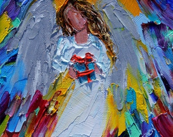 Angel with Gift painting original oil 6x6 palette knife impressionism on canvas fine art by Karen Tarlton