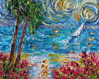 Starry Sky Sailing original oil painting abstract palette knife impressionism on canvas fine art by Karen Tarlton