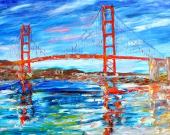 Golden Gate Bridge San Francisco painting abstract palette knife impressionism on canvas fine art by Karen Tarlton