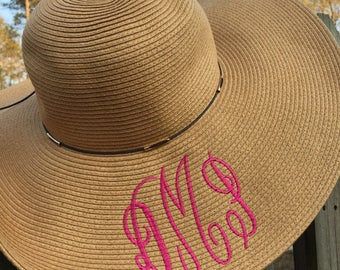 Ladies Floppy Beach Hat with Monogram or Initial, Braided Wicker, Great for Bridesmaids, Weddings, Trips, or the Beach