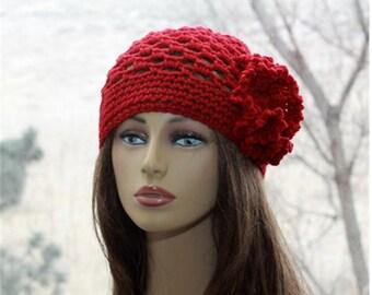 Crochet Womens  hat, 1920s style hat, crochet lace beanie, womens hat,  red flower hat, cloche style hat, womens  summer  hat